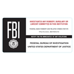 FBI Robbery Warning Sticker
