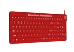 E-Cool MagFix Keyboard with Cool-Connect for Downtime-Workstations with Cool-Connect with Magnetic Back (USB) (Red) | ECOOL/MAG/R5 from WetKeys Washable Keyboards.