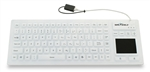 Seal Touch Glow Washable Silicone All-in-One Keyboard With Built-in Touchpad Pointing Device - Backlit  Dishwasher Safe & Antimicrobial (White)(USB)(Gen 2 Design) | SW90PG2