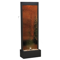 Bronze Mirror Waterfall w/ Decorative Stones & Light