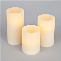 Set of Three Flameless Pillars - Champagne