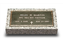 Bronze Military Grave Marker VET-2 (With Granite)