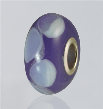 Purple Dots Glass Cremation Bead for Pandora Bracelets