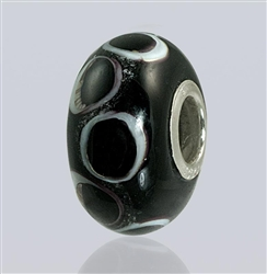 Black Dots Glass Cremation Bead for Pandora Bracelets