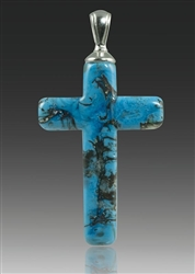 Turquoise Cross Glass Cremation Pendant