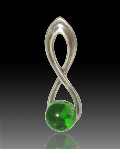 Harmony Silver & Glass Pearl Pendant - Green