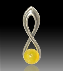 Harmony Silver & Glass Pearl Pendant - Yellow