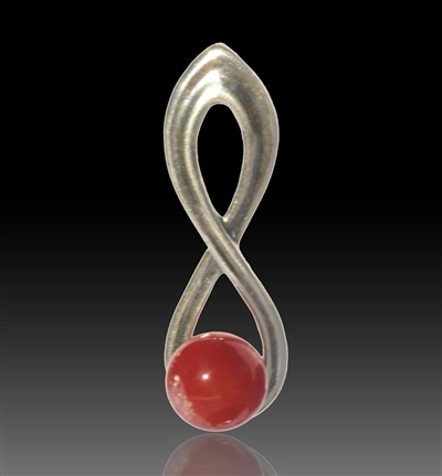 Harmony Silver & Glass Pearl Pendant - Red