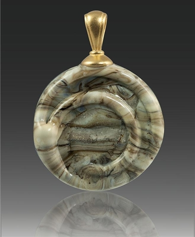 Fossil Helix Glass Cremation Pendant