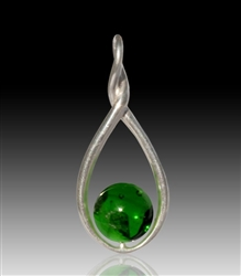 Melody Glass Pearl Cremation Pendant - Green