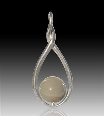 Melody Glass Pearl Cremation Pendant - Grey