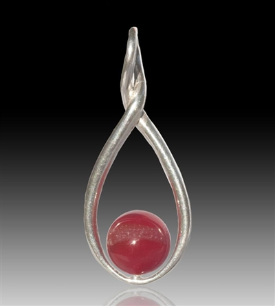 Melody Glass Pearl Cremation Pendant - Red