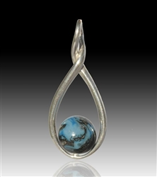 Melody Glass Pearl Cremation Pendant - Turquoise