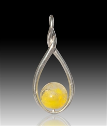 Melody Glass Pearl Cremation Pendant - Yellow