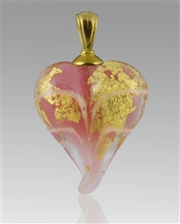 Pulsar/Gold Heart Glass Cremation Pendant