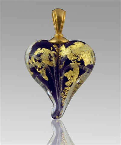 Purple/Gold Heart Glass Cremation Pendant