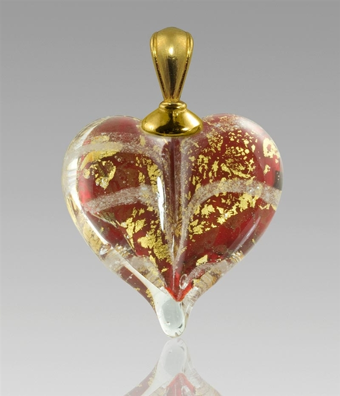 Red Gold Heart Glass Cremation Pendant