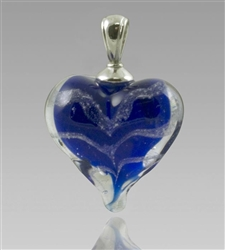 Blue Heart Glass Cremation Pendant