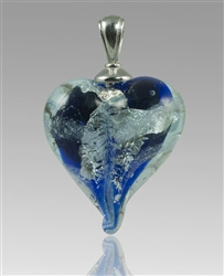Blue/Silver Heart Glass Cremation Pendant