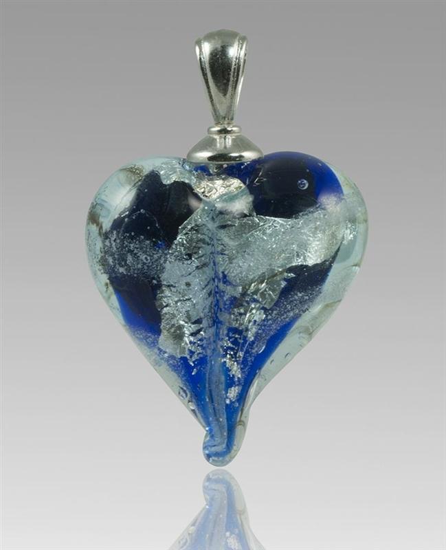 Bluesilver heart glass cremation pendant aloadofball Image collections