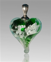 Green/Silver Heart Glass Cremation Pendant