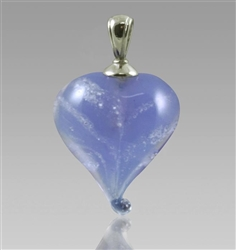 Lavendar Heart Cremation Glass Pendant