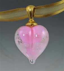 Pink Heart Glass Cremation Pendant