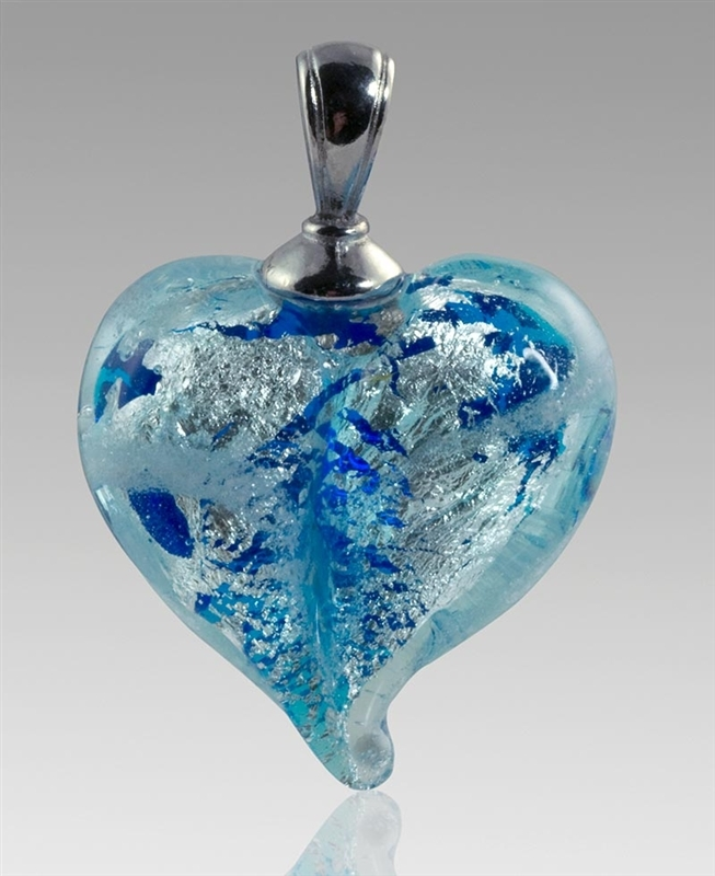 Pulsarsilver heart glass cremation pendant mozeypictures Images