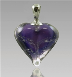 Purple Heart Glass Cremation Pendant