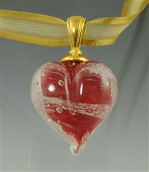 Red Heart Glass Cremation Pendant