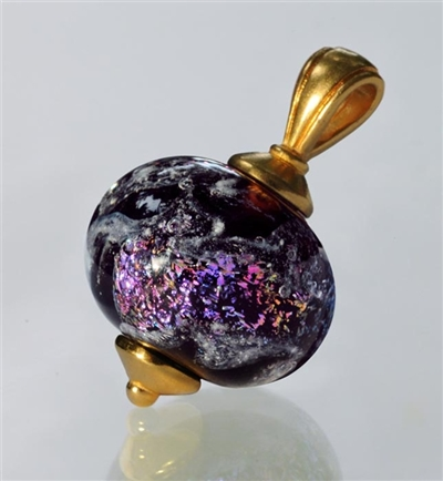 Glass Cremation Pendant - Swirling Galaxy Dark Plum