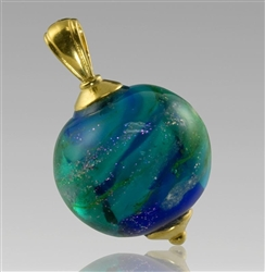 Glass Cremation Pendant - Swirling Galaxy Ocean