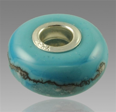 Turquoise Glass Cremation Bead for Pandora Bracelets