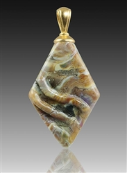 Calico Rhombic Glass Cremation Pendant