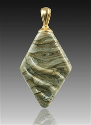 Fossil Rhombic Glass Cremation Pendant