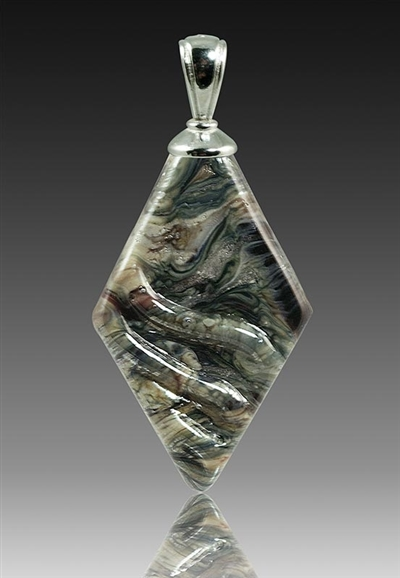 Granite Rhombic Glass Cremation Pendant