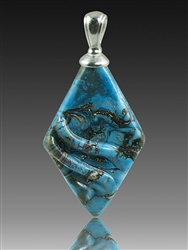 Turquoise Rhombic Glass Cremation Pendant