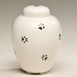 Ceramic Paw Print Pet Urn