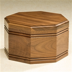 Walnut Octagon Wood Urn