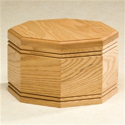 Oak Octagon Wood Urn