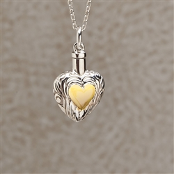 Silver and Gold Heart Cremation Pendant