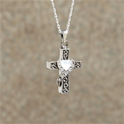 Heart Stone Cross Cremation Pendant