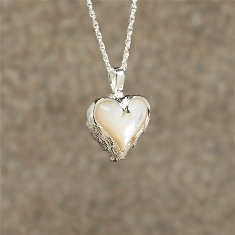 Mother of pearl heart cremation pendant by everlife memorials alternative views aloadofball Image collections