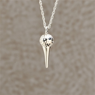 Golf Ball with Tee Cremation Pendant
