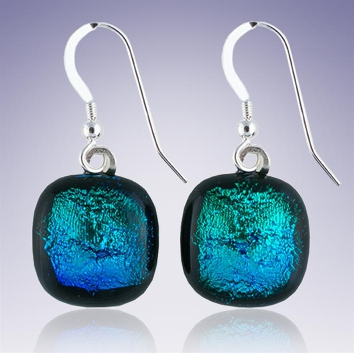 and earrings company sea blue glass wired mermaid tears