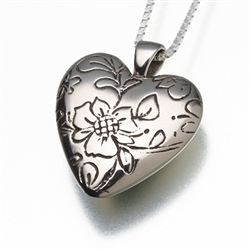 Foral Heart White Bronze