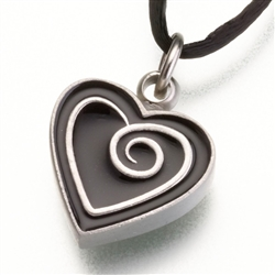Black Enameled Pewter Heart