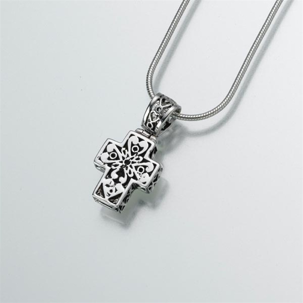 Filigree cross cremation jewelry by everlife memorials filigree cross pendant aloadofball Image collections