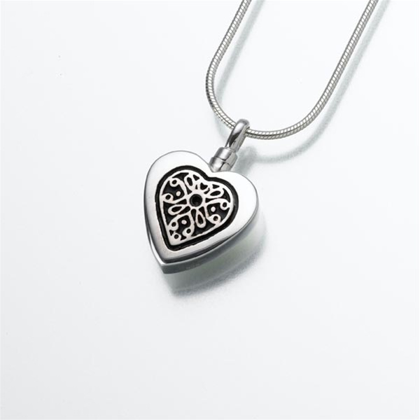 Heart shape cremation jewelry by everlife memorials filigree heart pendant aloadofball Image collections
