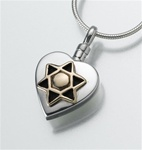 Star of David Heart Cremation Pendant